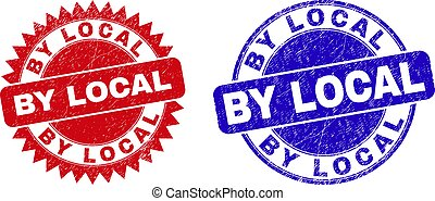 Round and rosette BY LOCAL seal stamps. Flat vector textured seal stamps with BY LOCAL phrase inside round and sharp rosette form, in red and blue colors. Imprints with unclean surface,