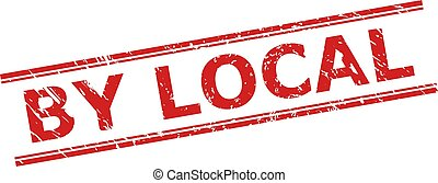 Red BY LOCAL stamp seal on a white background. Flat vector distress watermark with BY LOCAL caption inside double parallel lines. Watermark with unclean style.