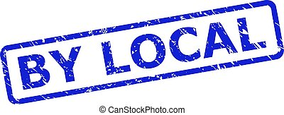 Blue BY LOCAL stamp seal on a white background. Flat vector scratched seal stamp with BY LOCAL text is placed inside rounded rect frame. Watermark with unclean surface.