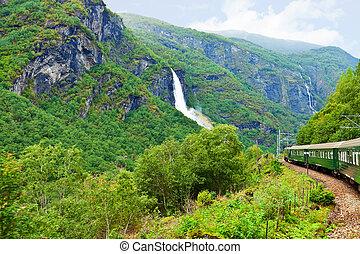 By the train across Scandinavian mountains