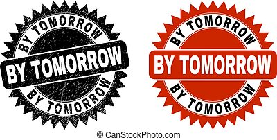 BY TOMORROW Black Rosette Stamp Seal with Unclean Style