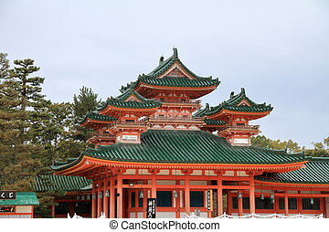 Byakkoro tower of Heian shrine in Kyoto, Japan