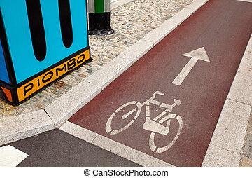 bycicle, caminho, em, milão