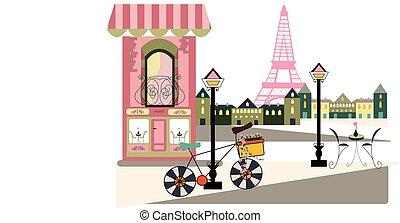 bycicle, escena, parisiense