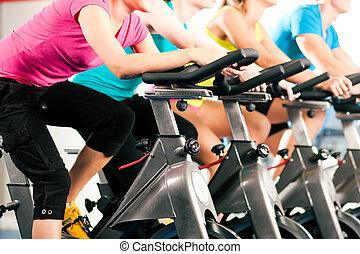 bycicle, gymnastiksal, inomhus, cykling