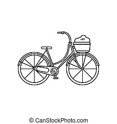 Bycicle icon, outline style - Bycicle icon. Outline bycicle...