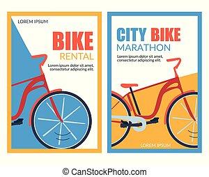 Bycicle Rental City Bike Marathon Vector Banner