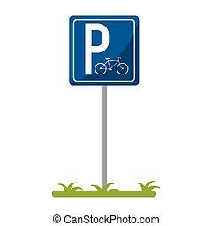 bycicle road sign parking vector illustration eps 10