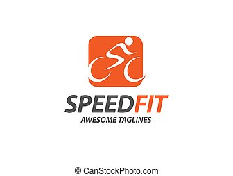 abstract simple cycling race vector logo illustration