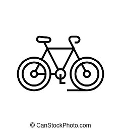Bycicle trip line icon, concept illustration, outline symbol, vector sign, linear symbol.
