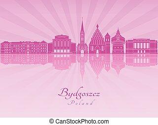 Bydgoszcz skyline in purple radiant orchid