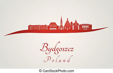 Bydgoszcz skyline in red
