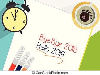 Bye Bye 2018 - Hello 2019 plan icon concept.