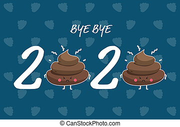 bye bye 2020 illustration - Funny bye bye 2020 card