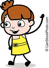 Bye Bye Gesture - Cute Girl Cartoon Character Vector Illustration
