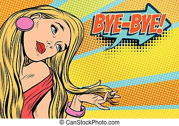 bye-bye woman, parting and farewell