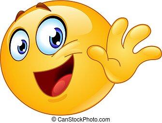 bye emoticon - Happy emoji emoticon waving goodbye. Saying ...