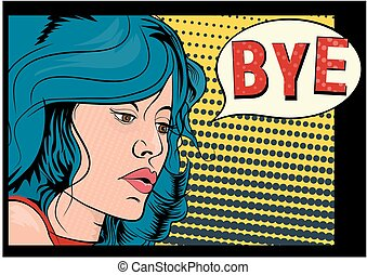 Bye. The girl with blue hair in the style of a comic book. ...