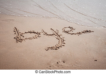 Bye written on sand in the beach of Gandia, Spain