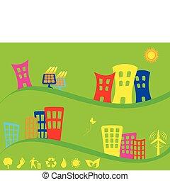 byen, alternativ, grønne, energi, bruge