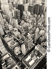 byen, antenne, skyline, sort, york, nye, hvid, manhattan, udsigter