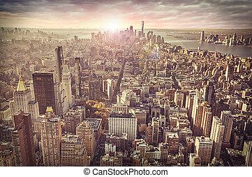 byen, baggrund., york, nye, skyline, solopgang