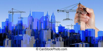 byen, blå, xray, transparent, rendered