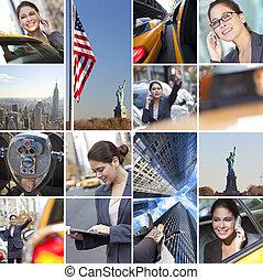 byen, branche kvinde, telefon, york, nye