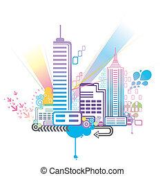 byen, farverig, baggrund