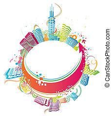 byen, farverig, baggrund.