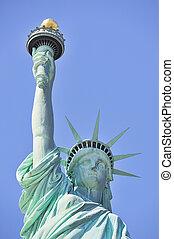 byen, frihed, closeup, york, statue, nye, manhattan