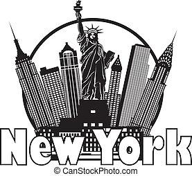 byen, illustration, skyline, sort, york, nye, hvid kreds