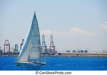 byen, kraner, sejlbåd, baggrund, valencia, havn