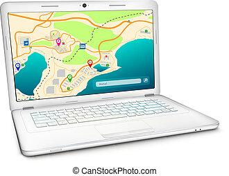 byen, laptop, moderne, fremvisning, kort