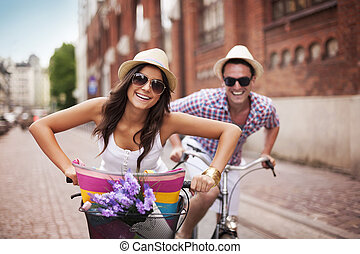 byen, par, cycling, glade