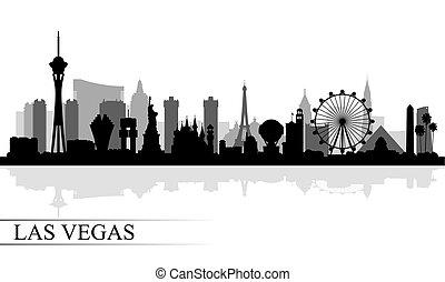 byen, silhuet, skyline, vegas, baggrund, las