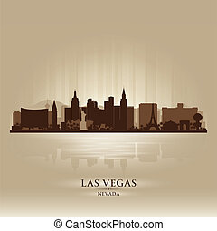 byen, silhuet, vegas, skyline, nevada, las