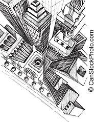 byen, skitse, antenne, skyskrabere, affattelseen, top udsigt