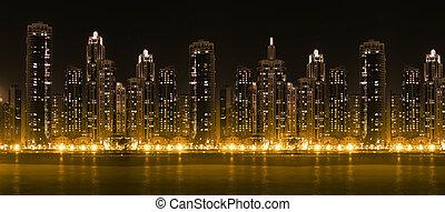 byen, skyskrabere, moderne, hight, skyline, belyst