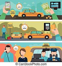 byen, taxi, transport, tjeneste, bannere