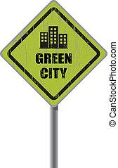 byen, tegn., grønne, vej