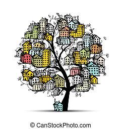 byen, træ, skitse, by, din, konstruktion