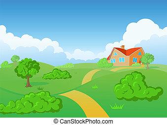 bygd, house., grön, meadow.