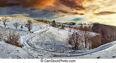 bygd, vinter, väg, solnedgång
