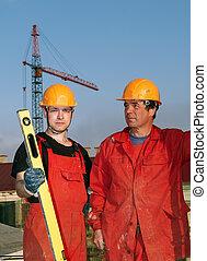 byggare, arbetare, hos, konstruktion sajt