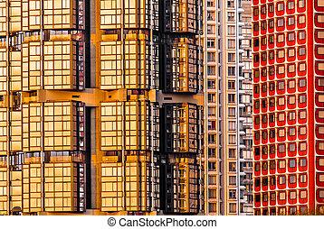 bygge facade, exterior, paris, byen, frankrig