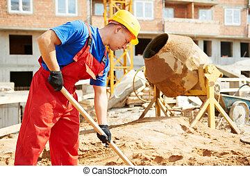 byggmästare, arbetare, hos, konstruktion sajt, med, skovel