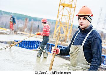 byggmästare, arbetare, hos, konstruktion sajt