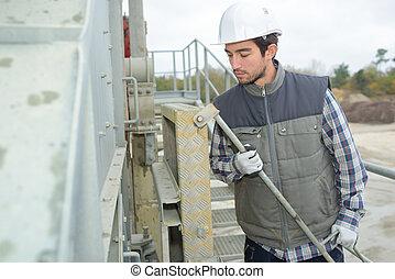byggmästare, arbete, utanför, fabrik