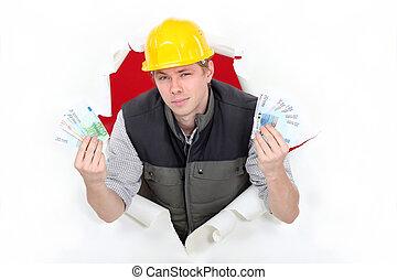 byggmästare, blinkande, arrogant, kontanter